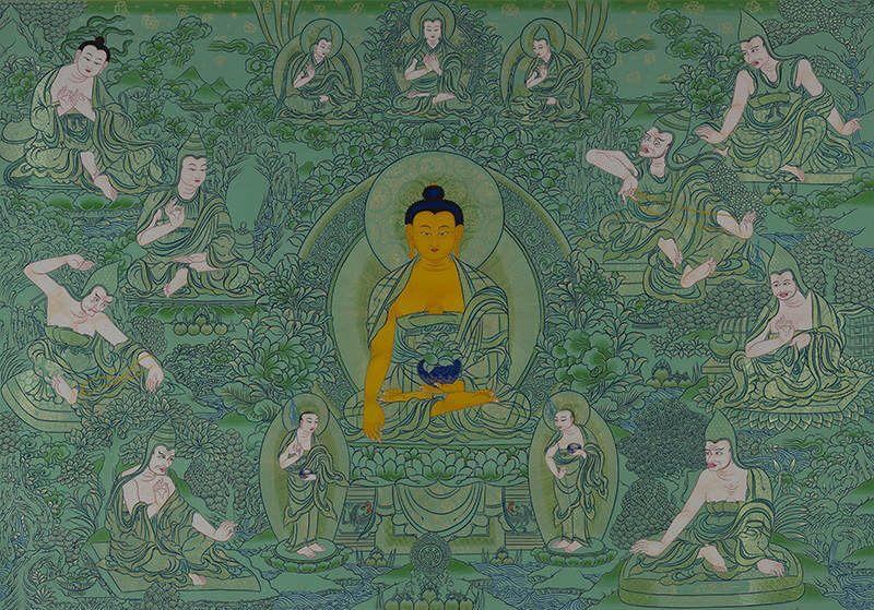 釋迦摩尼佛兩大弟子與八大成就者(綠唐卡)