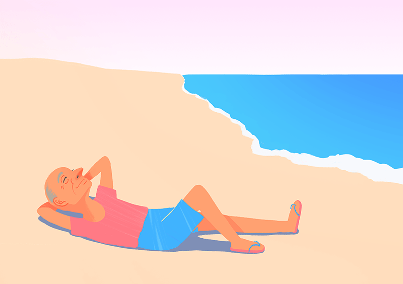 一個人躺在海灘